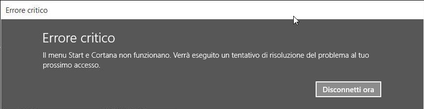 Windows 10 Menu start e Cortana non funzionano