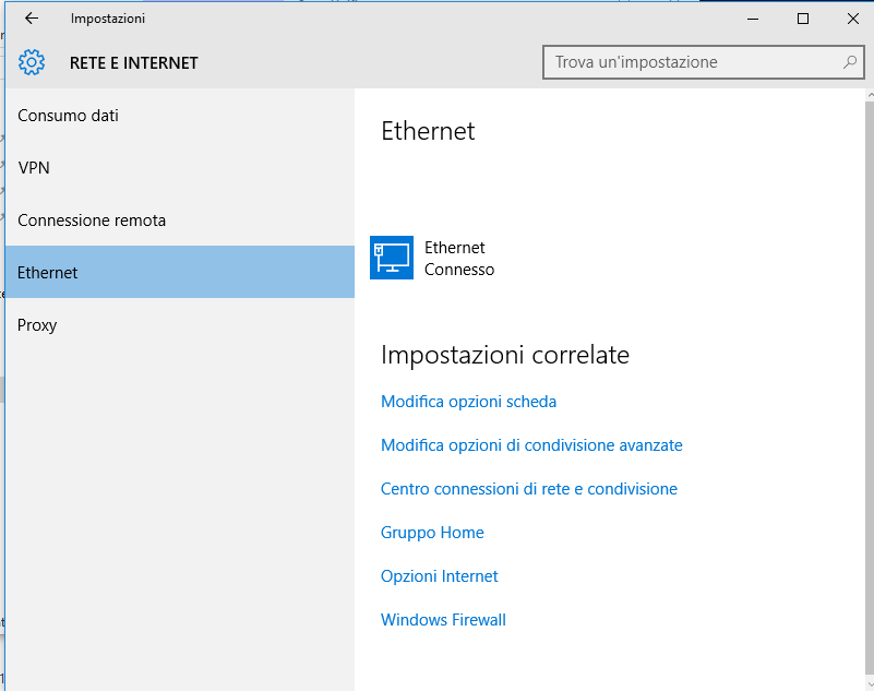 windows 10 rete e internet