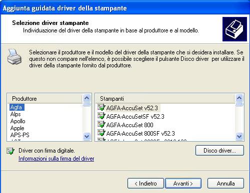 Windows XP aggiunta guidata Driver Stampante