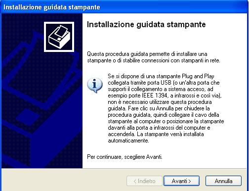 Windows Xp - Installazione guidata nuova stampante