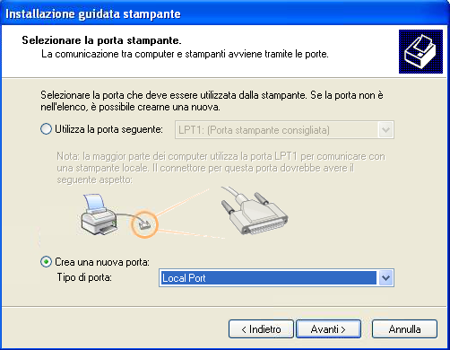 Windows Xp Installazione scelta porta locale stampante