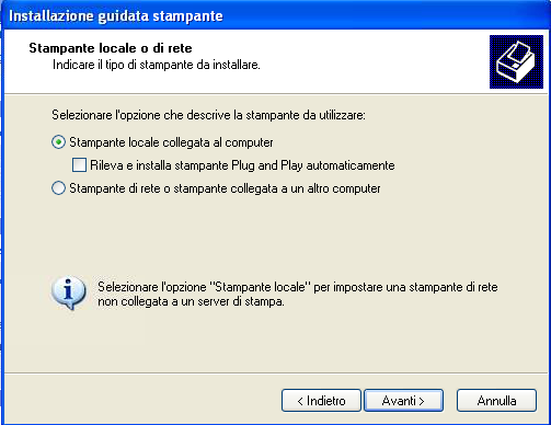 Windows Xp stampante locale o di rete