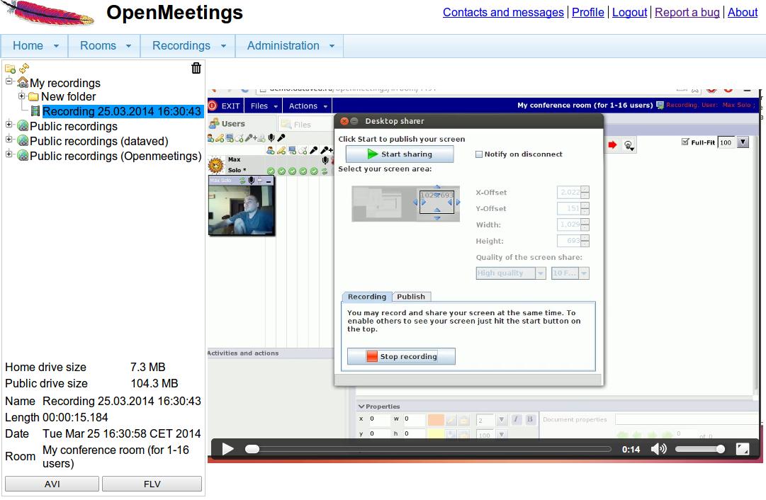 Registrazione della riunione e condivisione dello schermo