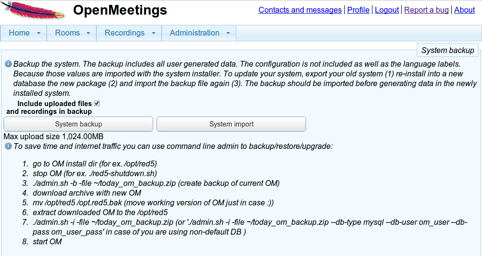 Apache OpenMeeting Backup