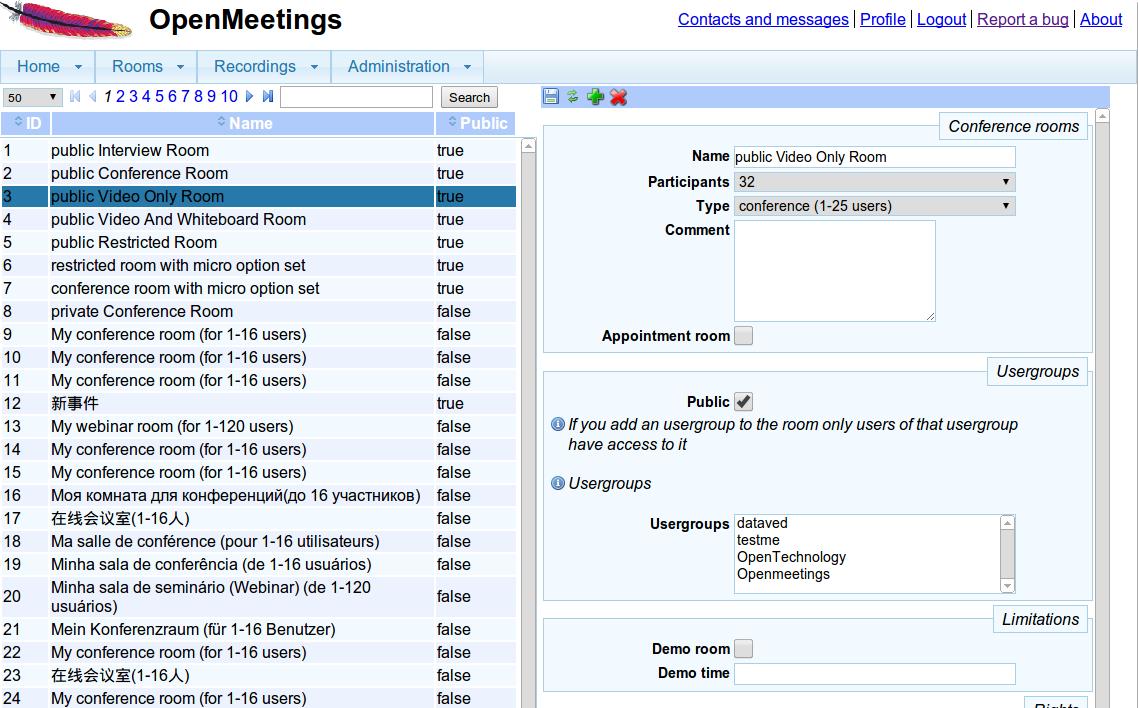 Apache OpenMeeting Gestione utenti e stanze