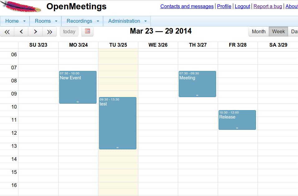 Apache OpenMeeting Piano incontri con il calendario integrato
