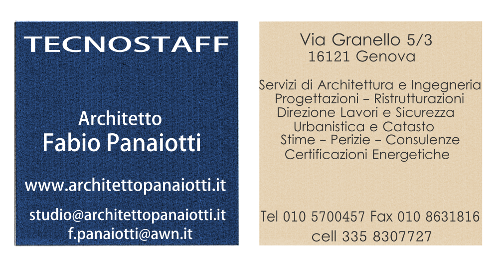 Architetto Fabio Panaiotti Biglietto da Visita