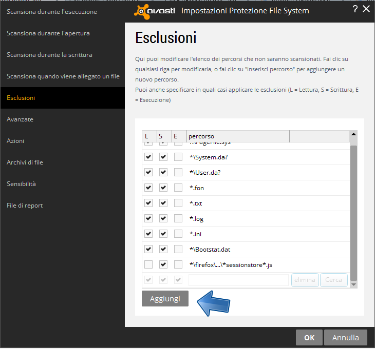 Avast - Impostazioni - File System - Personalizza - Aggiungi