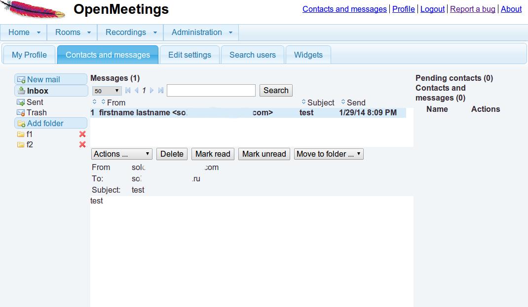 Apache OpenMeeting - Centro Messaggi privati