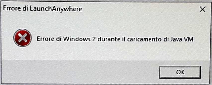 Desktop Telematico - Errore di Windows 2