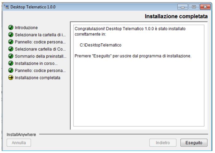 Desktop Telematico termine installazione