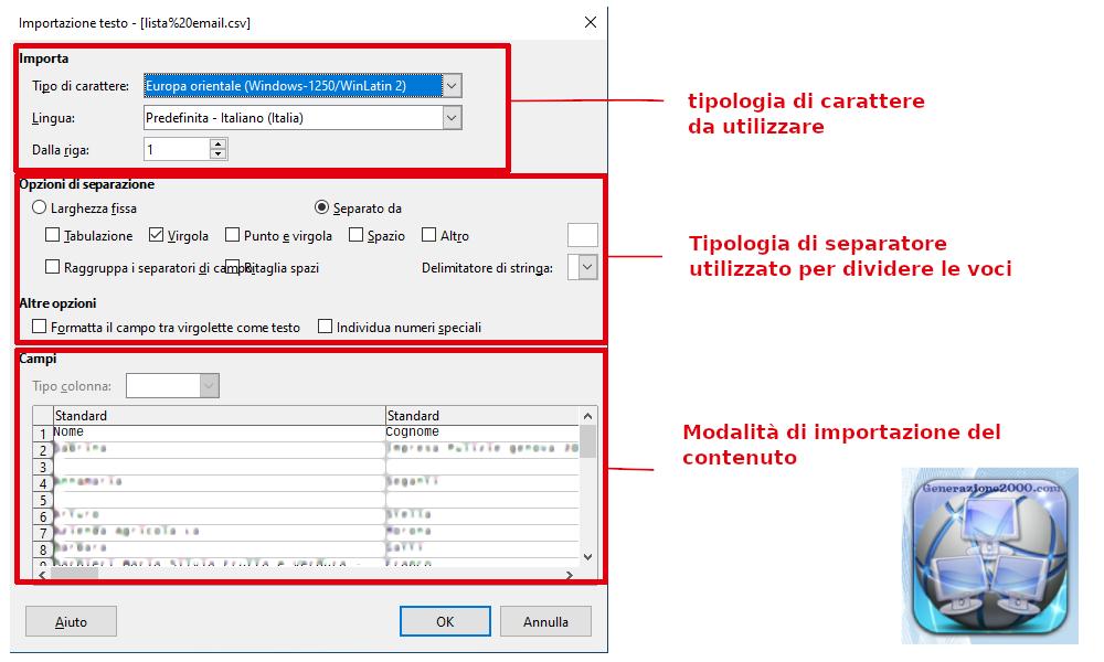 Importazione file csv txt tab