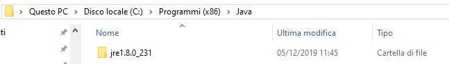 Java percorso programmi 32 bit windows