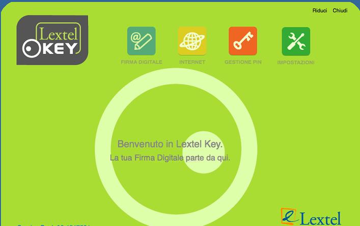 Schermata iniziale Lextel Key