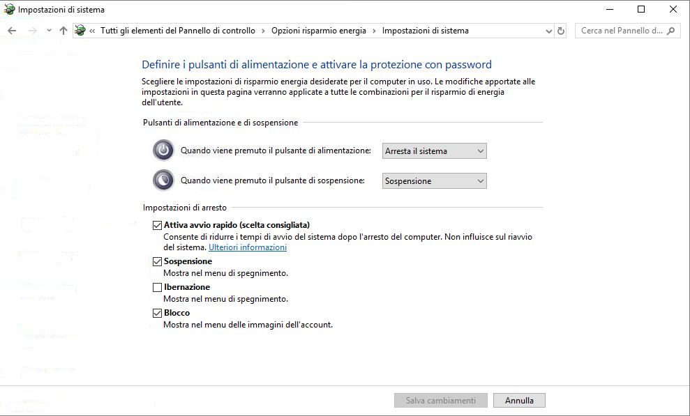 Windows 10 cambia comportamento pulsanti di accensione modifica