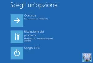 Windows 10 opzioni di avvio schermata