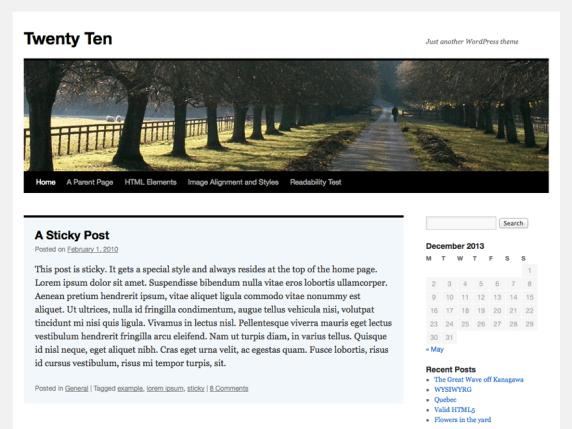 Wordpress Twenty Ten tema screenshot