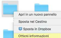 iMac menu oggetto ottieni informazioni