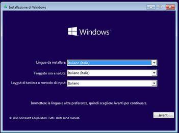 WINDOWS 10 installazione - lingua
