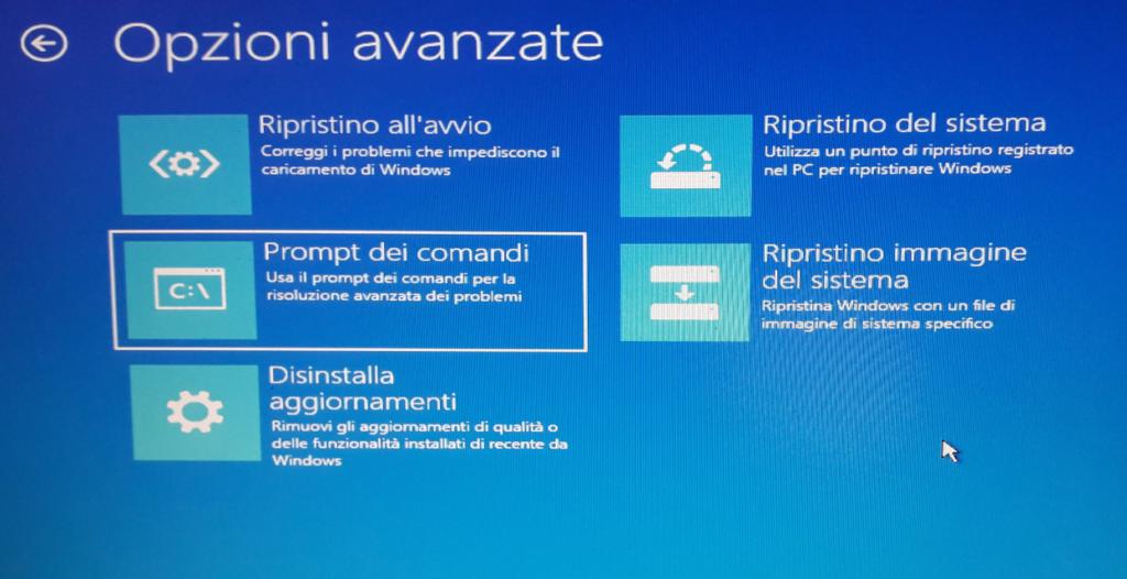 Windows 10 Opzioni Risoluzione problemi - prompt comandi
