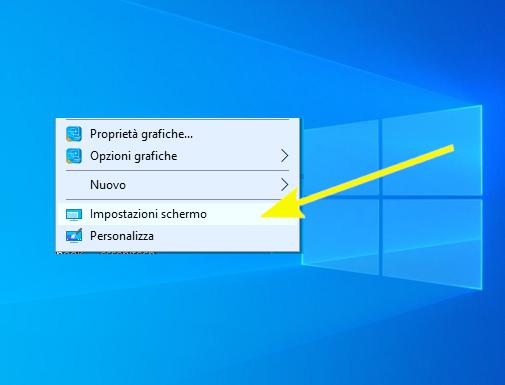 Windows 10 - desktop - impostazioni schermo